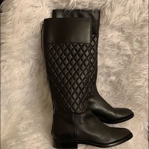 Michael Kors Black Quilted Leather Tall Boots 38.5
